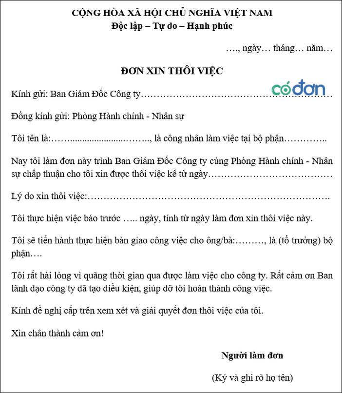 mau don xin nghi viec cua cong nhan