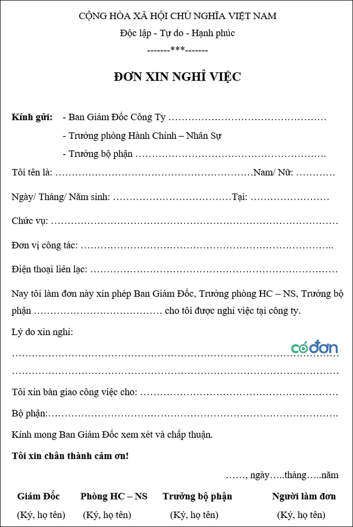 Tai mau don xin nghi viec file word